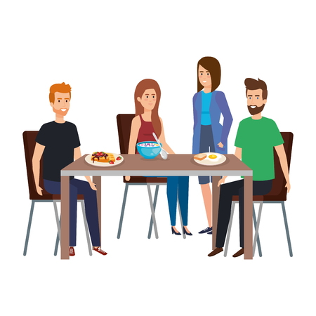 Illustrazione per young people eating in table characters vector illustration design - Immagini Royalty Free