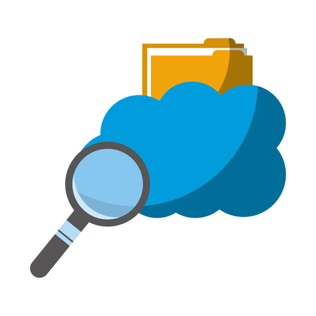 Illustration pour cloud computing with folder and magnifying glass vector illustration design - image libre de droit
