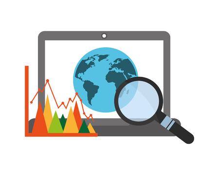 Ilustración de laptop computer with planet earth and set icons vector illustration design - Imagen libre de derechos