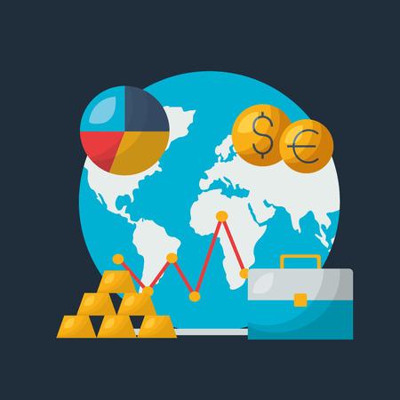 Ilustración de world gold money chart financial stock market vector illustration - Imagen libre de derechos