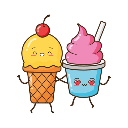 Illustration pour kawaii ice cream friendly fast food cartoon vector illustration - image libre de droit