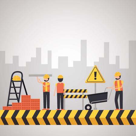 Photo pour workers construction wheelbarrow bricks buildings vector illustration - image libre de droit