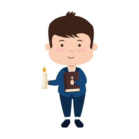Ilustración de little boy with bibble and candle first communion vector illustration design - Imagen libre de derechos