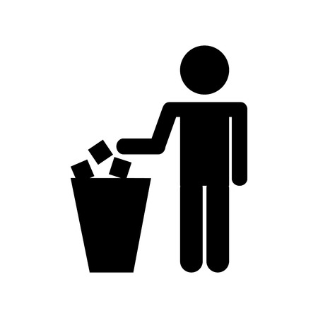 Ilustración de person silhouette with garbage bin vector illustration design - Imagen libre de derechos