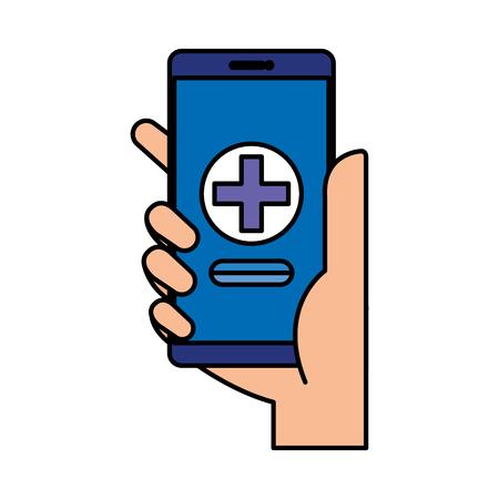 Ilustración de hand using smartphone with medical cross telemedicine vector illustration design - Imagen libre de derechos