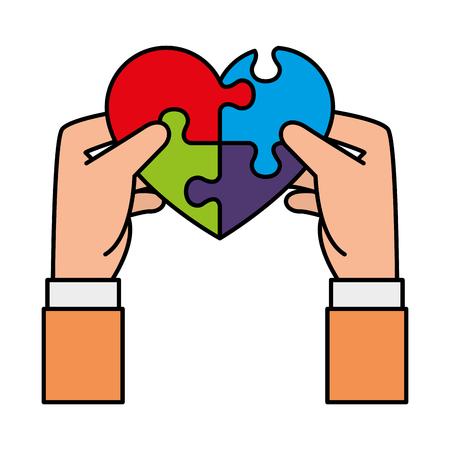 Ilustración de hands lifting heart with puzzle attached solution vector illustration design - Imagen libre de derechos