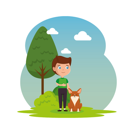 Illustration for cute little boy with dog in the landscape vector illustration design - Royalty Free Image