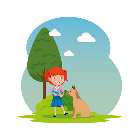 Illustration pour cute little girl with puppy in the camp vector illustration design - image libre de droit