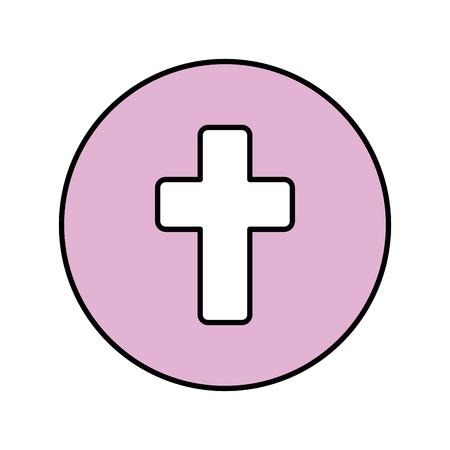 Illustration pour first communion cross icon vector illustration design - image libre de droit