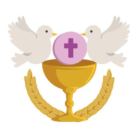 Ilustración de first communion in chalice with doves vector illustration design - Imagen libre de derechos