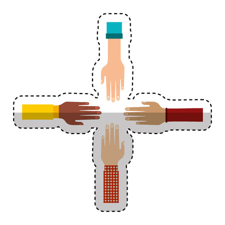 Illustration pour hands human teamwork symbol vector illustration design - image libre de droit