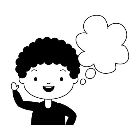 Illustration pour school boy speech bubble white background vector illustration - image libre de droit