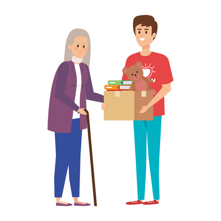 Ilustración de man volunteer giving a old woman donations box vector illustration design - Imagen libre de derechos