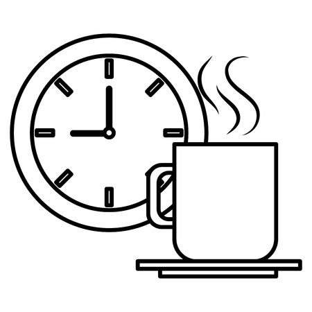 Illustration for clock time coffee cup vector illustration design - Royalty Free Image