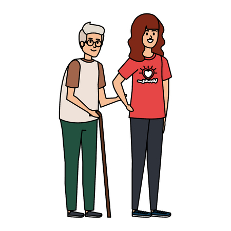 Ilustración de young woman volunteer helping a grandfather vector illustration design - Imagen libre de derechos