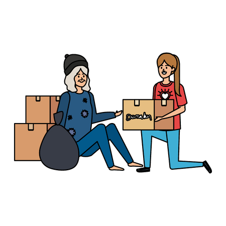Ilustración de woman volunteer giving a homeless woman donations box vector illustration design - Imagen libre de derechos