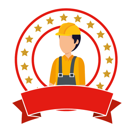Ilustración de builder worker with helmet vector illustration design - Imagen libre de derechos