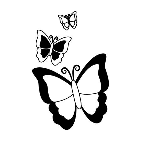 Ilustración de butterfly nature insect on white background vector illustration - Imagen libre de derechos