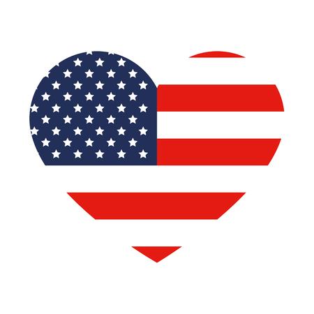 Ilustración de heart with united states of america flag vector illustration design - Imagen libre de derechos