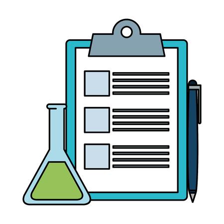 Ilustración de checklist clipboard with pen and tube test vector illustration design - Imagen libre de derechos