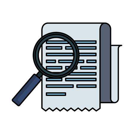 Ilustración de tax documents with magnifying glass vector illustartion design - Imagen libre de derechos