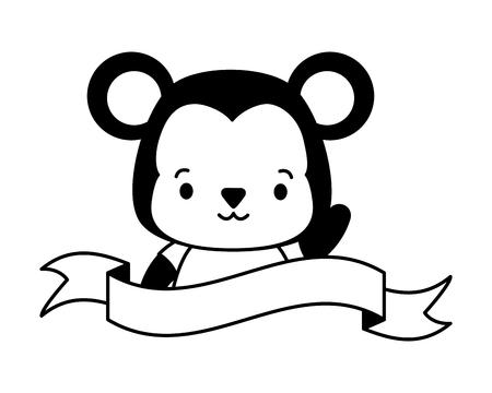 Illustration for cute monkey animal cartoon sticker vector illustration design - Royalty Free Image