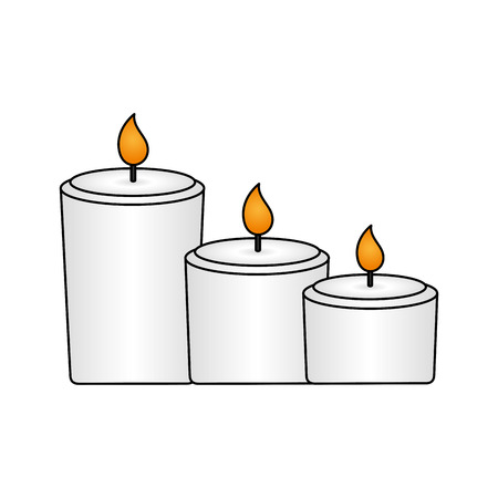 Illustration pour burning candles decoration on white background vector illustration - image libre de droit