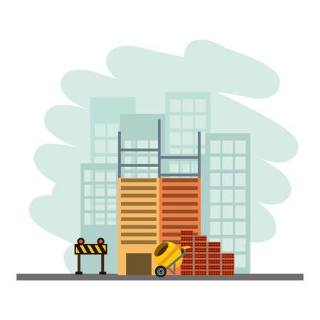 Illustration pour building construction concrete mixer bricks barricade vector illustration - image libre de droit