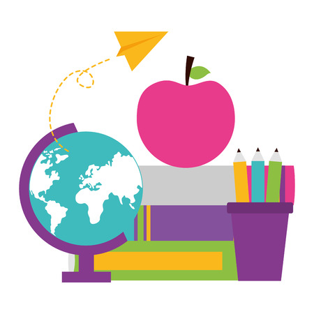 Photo pour globe books pencils apple school supplies vector illustration design - image libre de droit