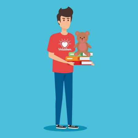 Ilustración de boy volunteer with books and teddy donation vector illustration - Imagen libre de derechos