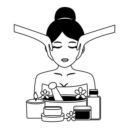 Illustration pour woman facial massage cosmetics and soap spa treatment therapy vector illustration - image libre de droit