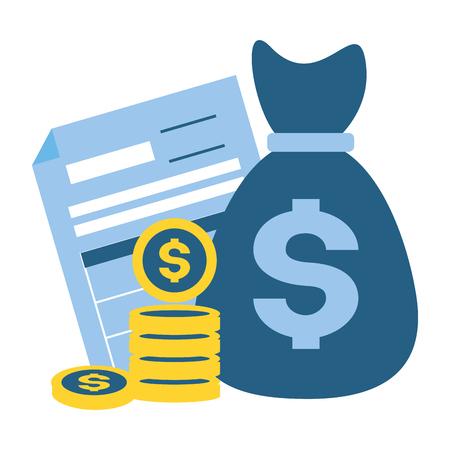 Illustration pour money bag form coins tax payment  vector illustration - image libre de droit