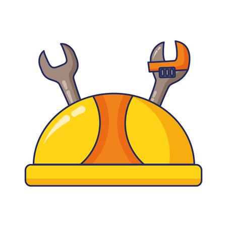 Ilustración de hardhat and tools labour day vector illustration - Imagen libre de derechos
