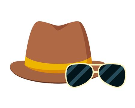 Illustration pour hipster hat and sunglasses vector illustration design - image libre de droit