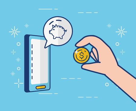 Illustration pour mobile piggy bank app online banking vector illustration - image libre de droit