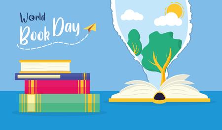 Ilustración de textbook tree nature torn paper - world book day vector illustration - Imagen libre de derechos