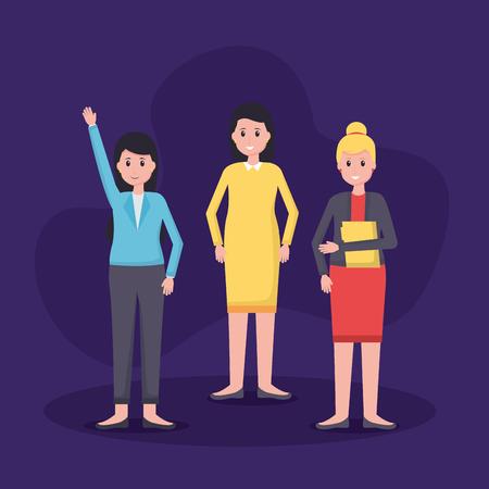 Ilustración de women colleagues team office vector illustration design - Imagen libre de derechos