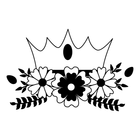 Illustration pour crown luxury flowers on white background vector illustration - image libre de droit