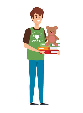 Ilustración de man volunteer with books and bear teddy vector illustration design - Imagen libre de derechos