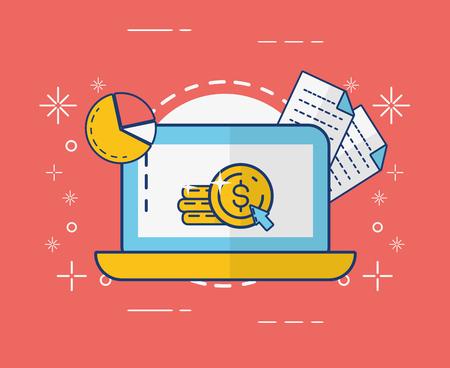 Photo pour laptop money document report online payment vector illustration - image libre de droit