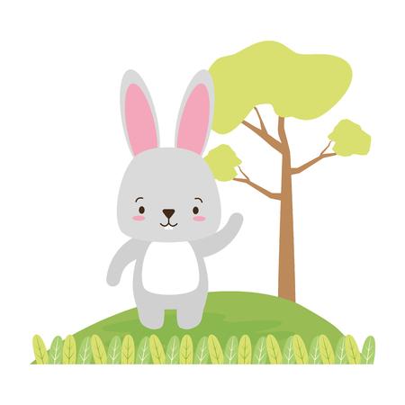 Illustration pour cute rabbit animal cartoon vector illustration design image - image libre de droit