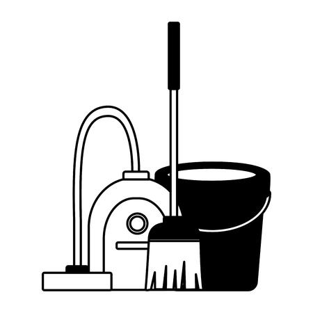 Ilustración de vacuum bucket broom spring cleaning tools vector illustration - Imagen libre de derechos
