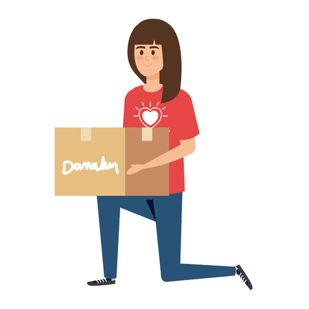 Ilustración de young woman volunteer lifting donations box vector illustration design - Imagen libre de derechos