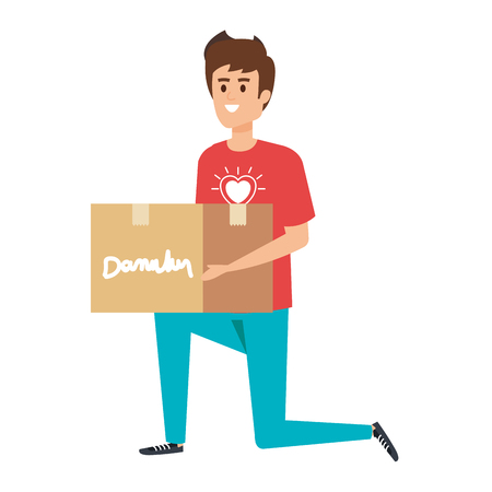 Ilustración de young man volunteer lifting donations box vector illustration design - Imagen libre de derechos