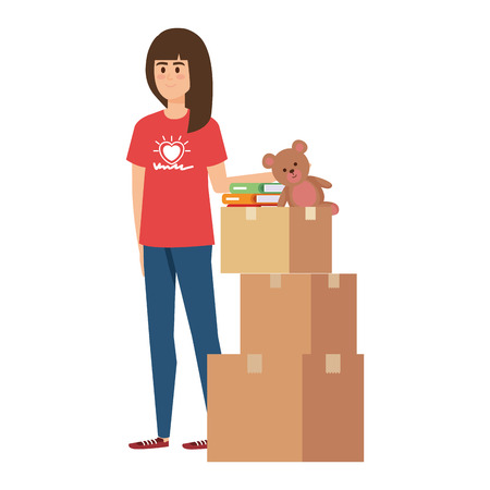 Ilustración de young woman volunteer with donations boxes vector illustration design - Imagen libre de derechos