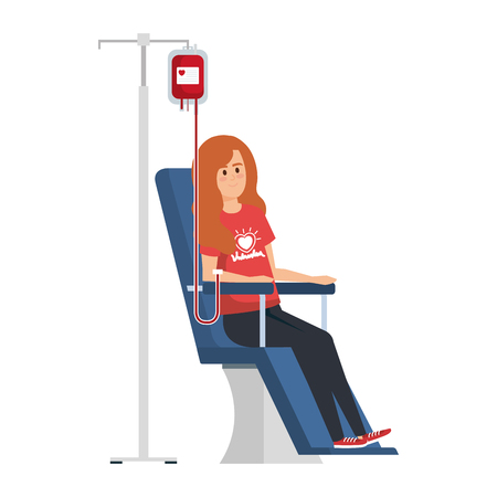 Ilustración de young woman volunteer in donation chair vector illustration design - Imagen libre de derechos