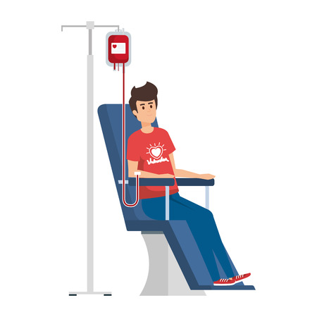Ilustración de young man volunteer in donation chair vector illustration design - Imagen libre de derechos