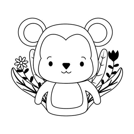 Illustration for cute monkey animal cartoon vector illustration design - Royalty Free Image