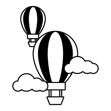 Illustration pour hot air balloon sky clouds vector illustration - image libre de droit