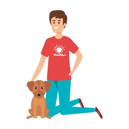 Ilustración de young man volunteer with cute dog vector illustration design - Imagen libre de derechos